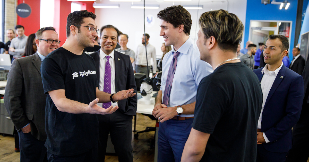 Martin and Meti meeting Justin Trudeau at Communitech